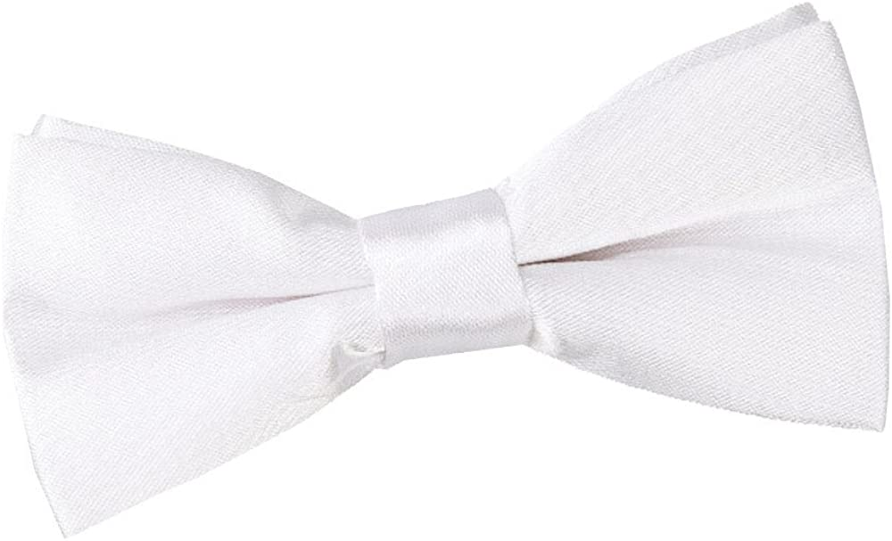 DQT Plain Glossy Satin Formal Wedding Tuxedo Pre-tied Bow Tie for Boys