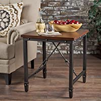 Ines Industrial Dark Walnut Finished Wood with Faux Pine Veneer Overlay Side Table