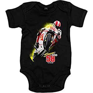 Body bebé Moto GP Super Sic 58 Marco Simoncelli - Negro, 6-12 meses