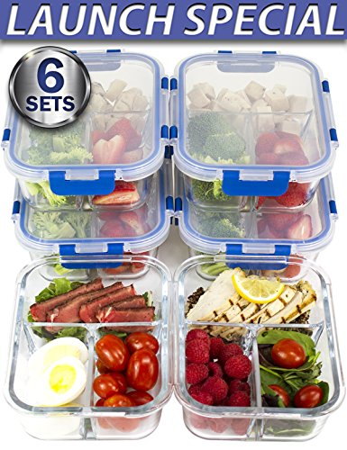 [LIFETIME LIDS 6 PACK] LARGE Premium 6 Sets 3 Compartment Glass Meal Prep Containers 3
