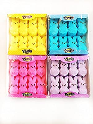 Peeps Marshmallow Easter Bunnies Bundle with 4 Colors: Blue, Yellow, Pink and Purple by Just Born, Inc.