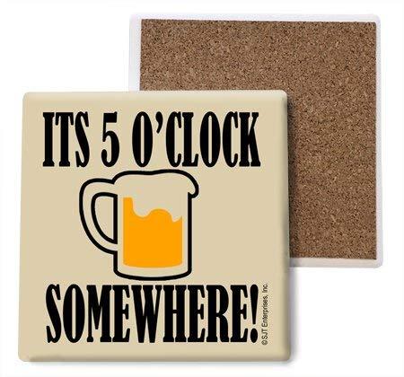 (sjt04070 ) It 's 5 O ' Clock Somewhere (Beer Mugイメージ) 吸収性ストーンコースター、4インチ(4 -パック)   B078HM7MLN