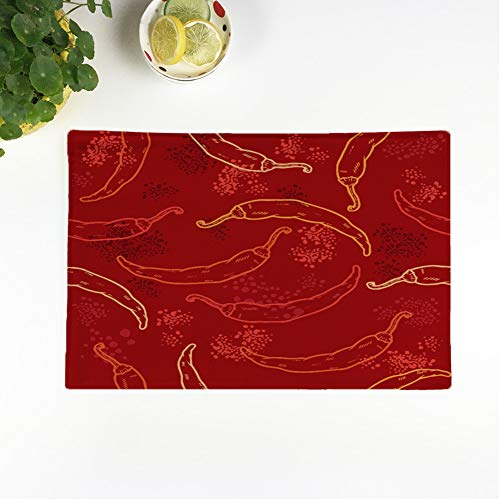 rouihot Set of 6 Placemats Green Spicy Red Chili Peppers Pattern Yellow Mexican Jalapeno 12.5x17 Inch Non-Slip Washable Place Mats for Dinner Parties Decor Kitchen Table (Difference Between Red Chili And Cayenne Pepper)