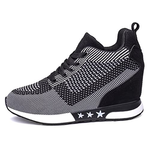 RAINSTAR Women's Casual Wedge Net Breathable Sneaker Outdoor Lace Up Shoes