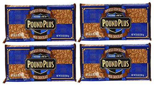 Trader Joe's Pound Plus GIANT Belgian Milk Chocolate with Almonds Bar - 4 Pack (17.6 oz) ()