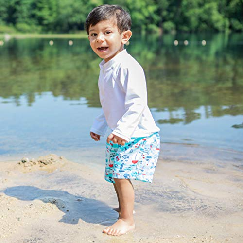 i play. by green sprouts baby-boys Trunks with Built-in Reusable Swim Diaper,Aqua Tiger,12mo