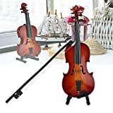 Boquite Mini Violin Model Wooden Display Musical Ornament for Craft Home Office Decor Birthday Gift