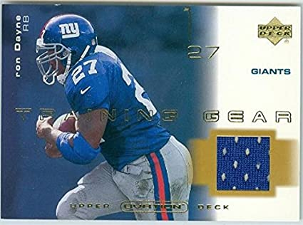 9425c097c527 Ron Dayne player worn jersey patch football card (New York Giants ...