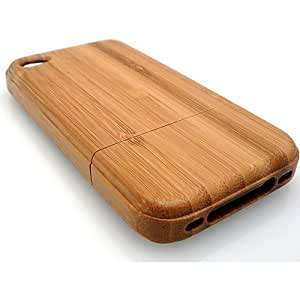 BONAMART ? Light Brown Luxury Unique Handmade Natural Wood Wooden Bamboo Hard Case Cover for iPhone 4 4s AT&T Verizon brown
