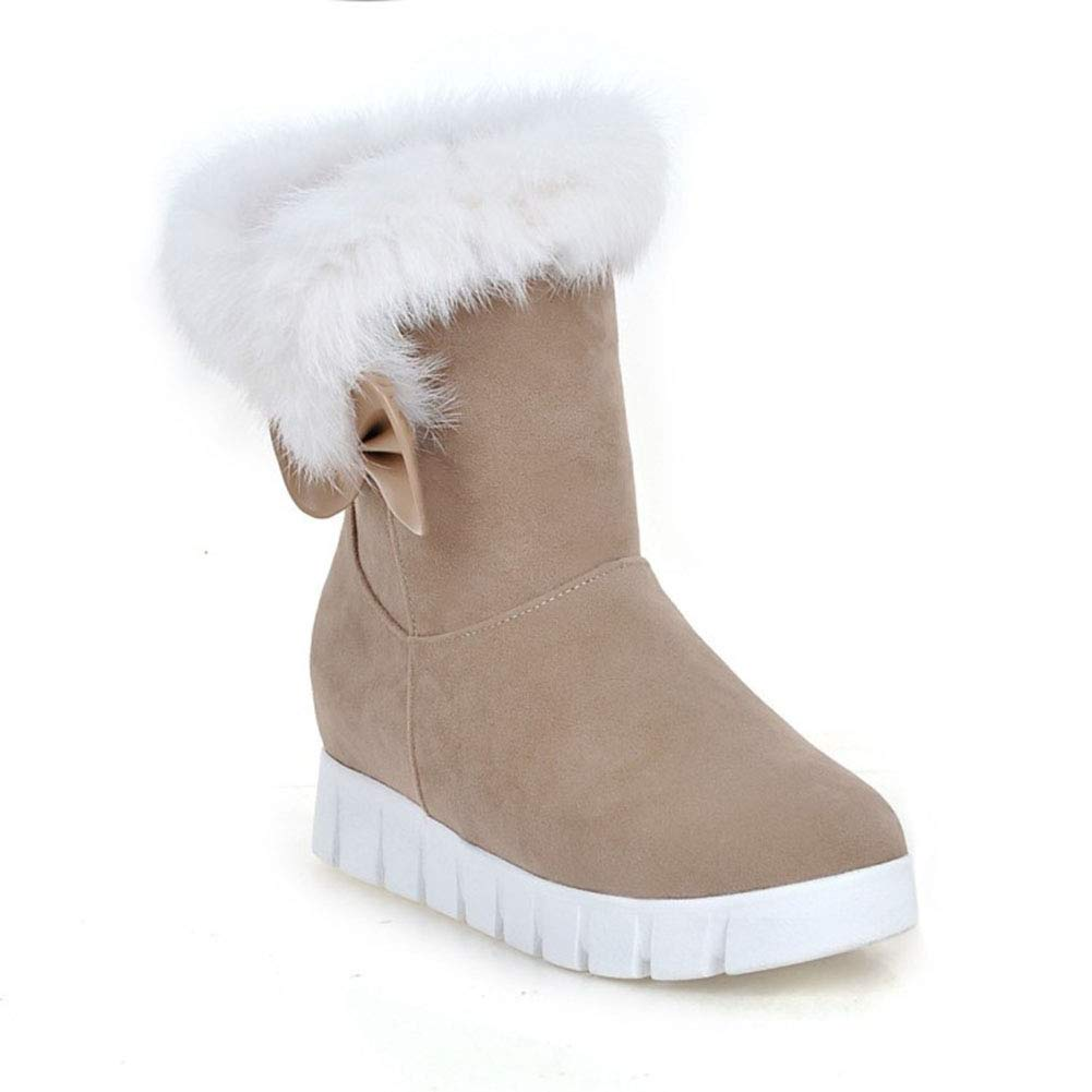 TWGDH Faux Faux Faux Suede Ankle Stiefel Ladies Warm Fur Lined Slip-On Round Toe Flat Schuhe Outdoor Walking Casual Snow Stiefelie  c42cea