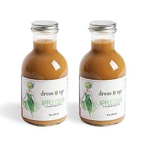 Dress It Up Dressing - Apple Cider Vinaigrette   Gluten Free, Vegan, Zero Sugar, & Low Sodium   Paleo, Keto, & Whole 30 Friendly   Salad Dressing and Marinade   2pk- 10oz Bottles