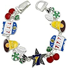 Casino Charm Bracelet BN Slot Machine Cherries Bells Poker Chip Lucky Magnetic Clasp