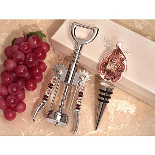 Murano Teardrop Design Mauve and Gold Bottle Stopper and Opener Set - 72 Sets by Cassiani