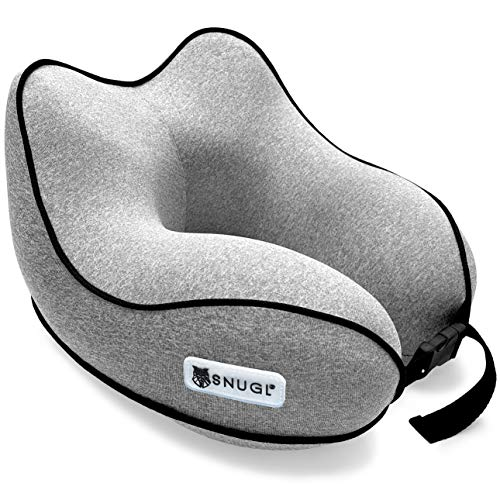 SNUGL Travel Pillow - Premium Ergonomic Design Memory Foam Cushion - Head, Neck & Chin Support for Airplane, Train or Car - Portable Compact Travel Bag with Clip Included