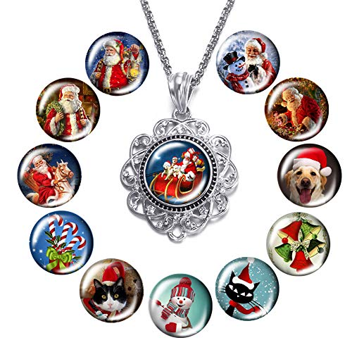 Long Pendant Necklace Round Floral Filigree Pendant Y Necklace Xmas Christmas Jewelry Snap Charms Glass Button