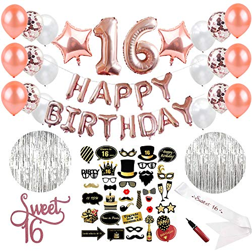 Sweet 16 Party Supplies (64 Pieces) | 16th Birthday Party Supplies | Decorations with Sweet Sixteen Sash, Photo Booth Props, Balloon Pump, Photo Backdrop, Rose Gold Number Balloons & Cake Topper