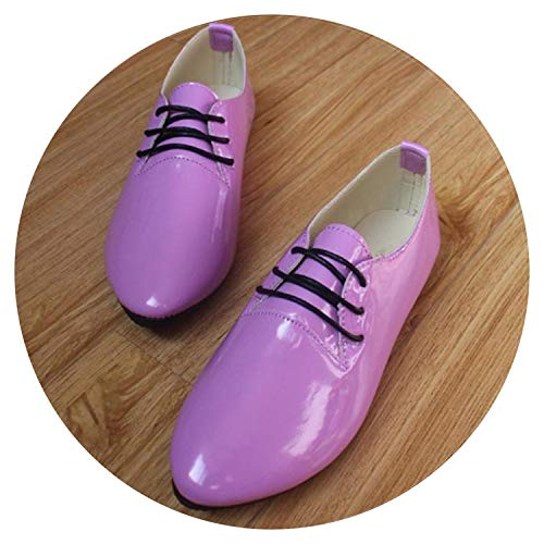 Women Shoes Flats Casual Shoes Woman Flat Lace Up Comfortable Patent Leather Walking Loafers,Lavender,9
