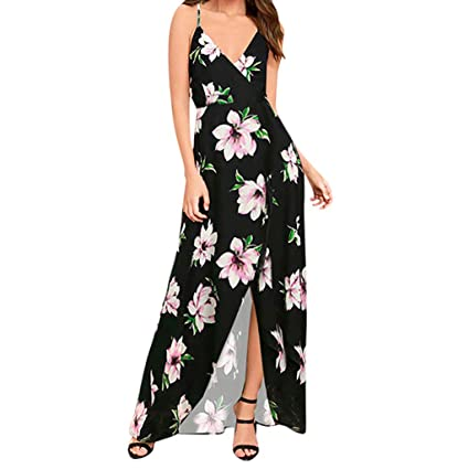 855feb61d6 Image Unavailable. Image not available for. Color: Women's Strap Floral  Print Lace Up Backless Deep V Neck Sexy Split Beach Maxi Dress