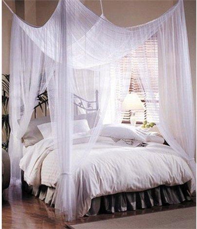 Amazon.com: 4 Corner Post Bed Canopy Mosquito Net Full Queen King ...