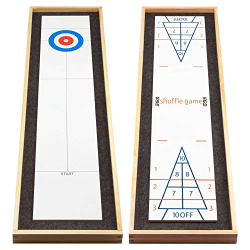 2-in-1 Solid Wood Mini Shuffleboard and Curling Tabletop Game Board Set