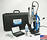 Hougen HMD917 115-Volt Swivel Base Magnetic Drill 2 Speed/Coolant Bottle Plus 1/2″ Drill Chuck, Adapter Plus 12002 Rotabroach Cutter Kit For Sale