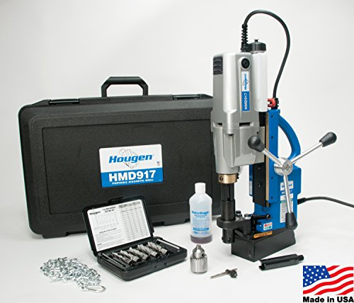 Hougen HMD917 115-Volt Swivel Base Magnetic Drill 2 Speed/Coolant Bottle Plus 1/2'' Drill Chuck, Adapter Plus 12002 Rotabroach Cutter Kit by Hougen