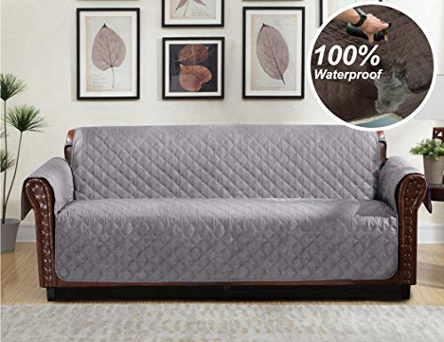 Home Queen Premium Couch Slipcover, Non-Slip Waterproof Sofa Protector with Pocket and Elastic Straps, Furniture Covers for Dogs, Kids, Pets, Sofa Covers 76