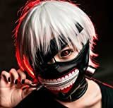 MACTING Tokyo Ghoul Kaneki Ken Cosplay Mask Halloween Party Cool Mask Prop Zipper Black, Free