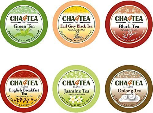 Cha4TEA K-Cup Tea Variety Sampler Pack, 36-Count Keurig K Cups, Multiple Flavors (Green Tea, Black Tea, Jasmine, Earl Grey, English Breakfast, Oolong Tea, Peppermint)