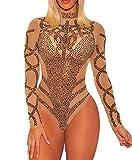 Ussuperstar Women's Sheer Long Sleeve Faux Bustier Mesh Bodysuit Gold Rhinestone Clubwear (Khaki, L)