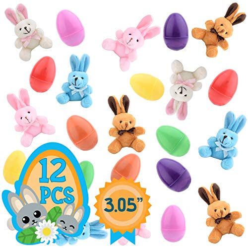 Totem World 12 Plush Bunny Filled 3'' Colorful Easter Eggs Basket Stuffers Plush Bunnies Plastic Easter Eggs Fillers Kids Party Favors Surprise Easter Eggs Hunt Games Supplies Birthday Gifts Toddler ()
