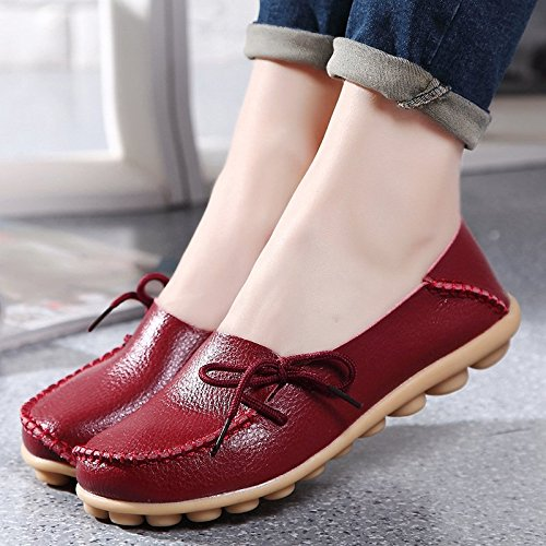 iLory Women's Casual Flat Shoes Leather Loafers Comfortable Driving Shoes Boat Shoes Wine Red 6kT2M6JY
