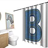 Letter B Polyester Shower Curtain Jeans Clothing Retro Fashion Style Alphabet Elements Youth