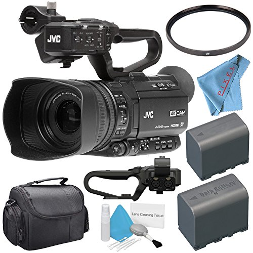 Jvc Camera Bag - JVC GY-HM180 GY-HM180U Ultra HD 4K Camcorder + BNV-F823 Replacement Lithium Ion Battery + 62mm UV Filter + Carrying Case + Deluxe Cleaning Kit + Fibercloth Bundle