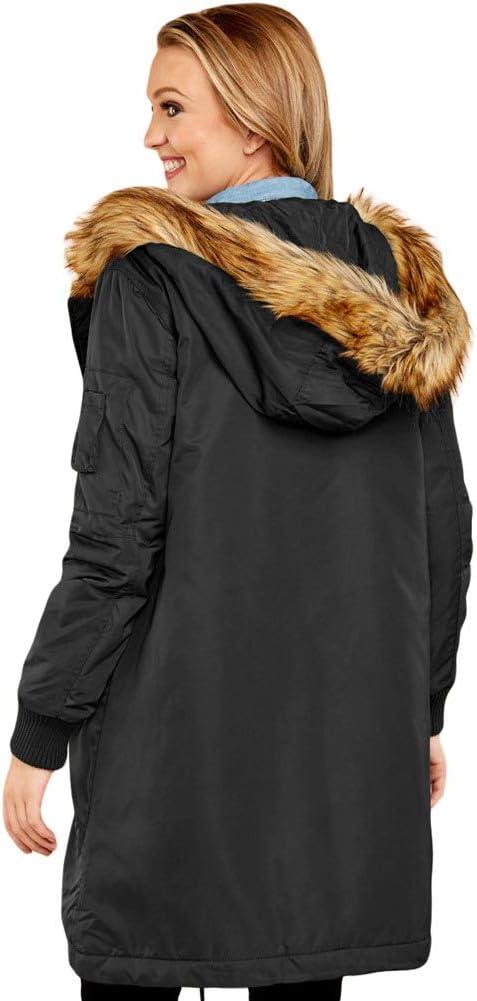 Byfjkkl Manteaux Rembourrés pour Femmes Fourrure À Capuche Hiver Chaud Outwear Veste Black