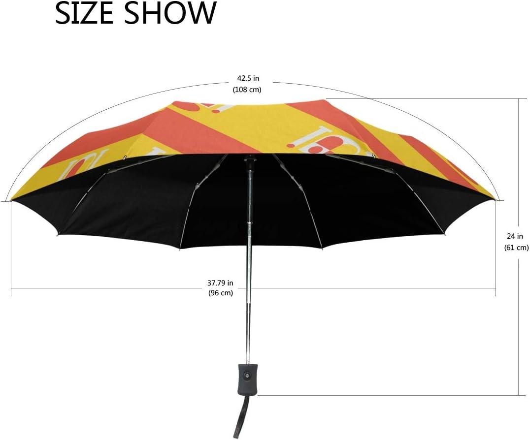Sombrilla con Bandera de España UPF 50+ antiUV, Impermeable, Resistente al Viento, 3 Pliegues de Apertura automática, Ligero Paraguas: Amazon.es: Equipaje