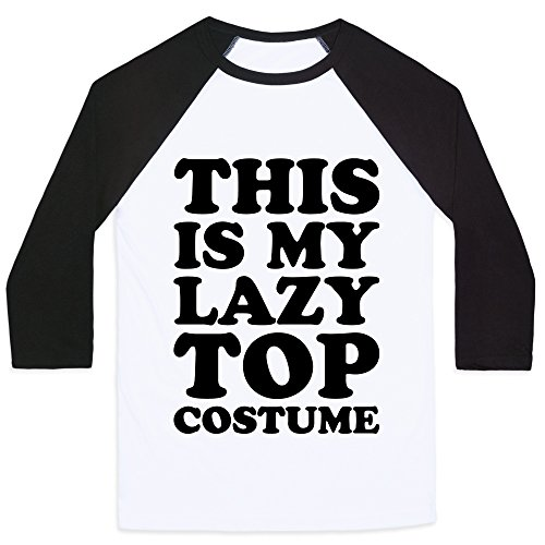 LookHUMAN This is My Lazy Top Costume White/Black 2X Mens/Unisex Baseball Tee ()