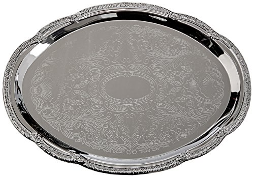 Oval Silver Plated Serving Tray - Winco CMT-1014 0.5mm Oval Tray, 14-Inch by 10-Inch, Chrome