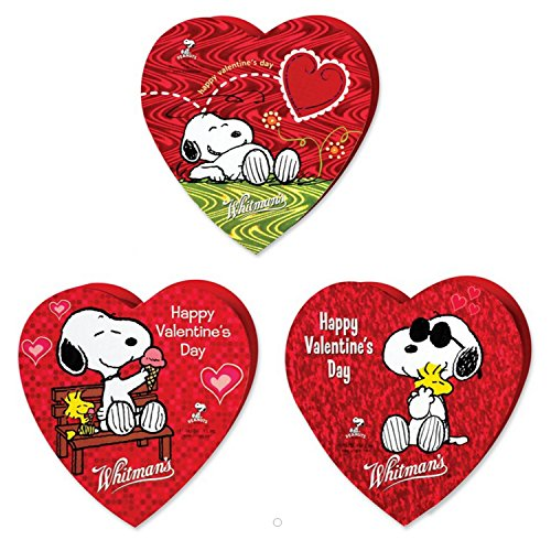 Whitmans Valentine Day Chocolates | Snoopy From Movie Peanut | 3 Different Love/heart Shaped Gift Boxes Each with 3 Assorted Pieces (Set of 3)