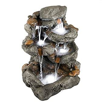 "33"" Granite Rock Waterfall Fountain: Outdoor 
