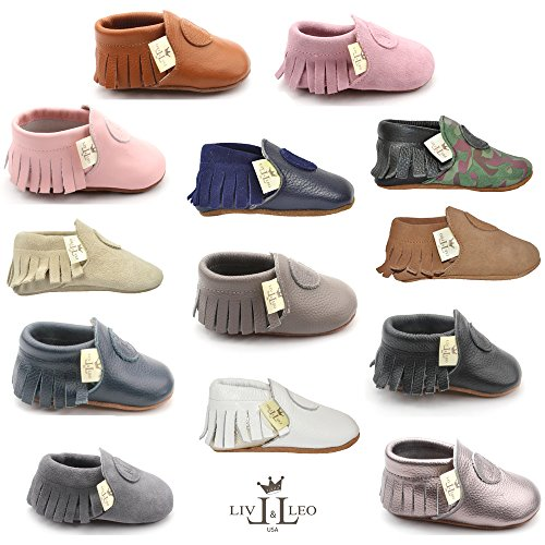 Liv & Leo Baby Boys Girls Moccasins Soft Sole Crib Shoes Slip-on 100% Leather - Classic Collection