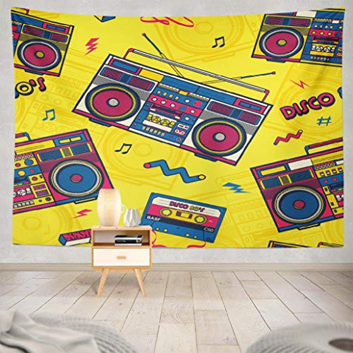 WAYATO Modern-Art Wall Hanging Tapestry, 80x60 Inches Retro Pop Radio Wallpaper Pattern Music Art Box Wall Tapestry for Home Decorations Bedroom Dorm Decor