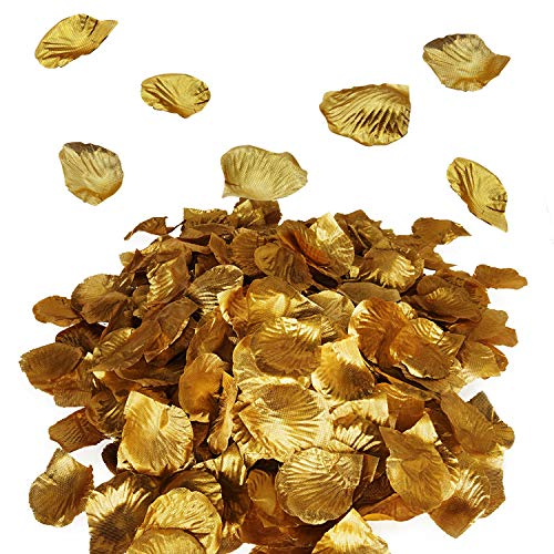 Royal Imports Metallic Gold Silk Flower Artificial Rose Petals for Wedding Aisle, Party Favor & Table, Vase, Home Decoration, 1000 PCS ()