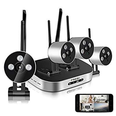 SpyGear-FREDI 4PCS mini Megapixel 720P Wireless Outdoor IP Camera System 100ft (30m) Night vision with 4 Channel Security 1080P HD Network IP mini NVR Wifi Kit Support Smartphone Remote view - FREDI