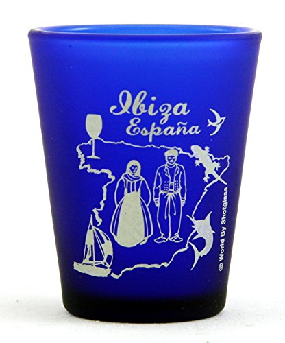 Ibiza Spain Cobalt Blue Frosted Shot - Glass Frosted Imprinted