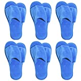 6 One Size Coloured Open Toed Terry Velour SPA Slippers (RoyalBlue)