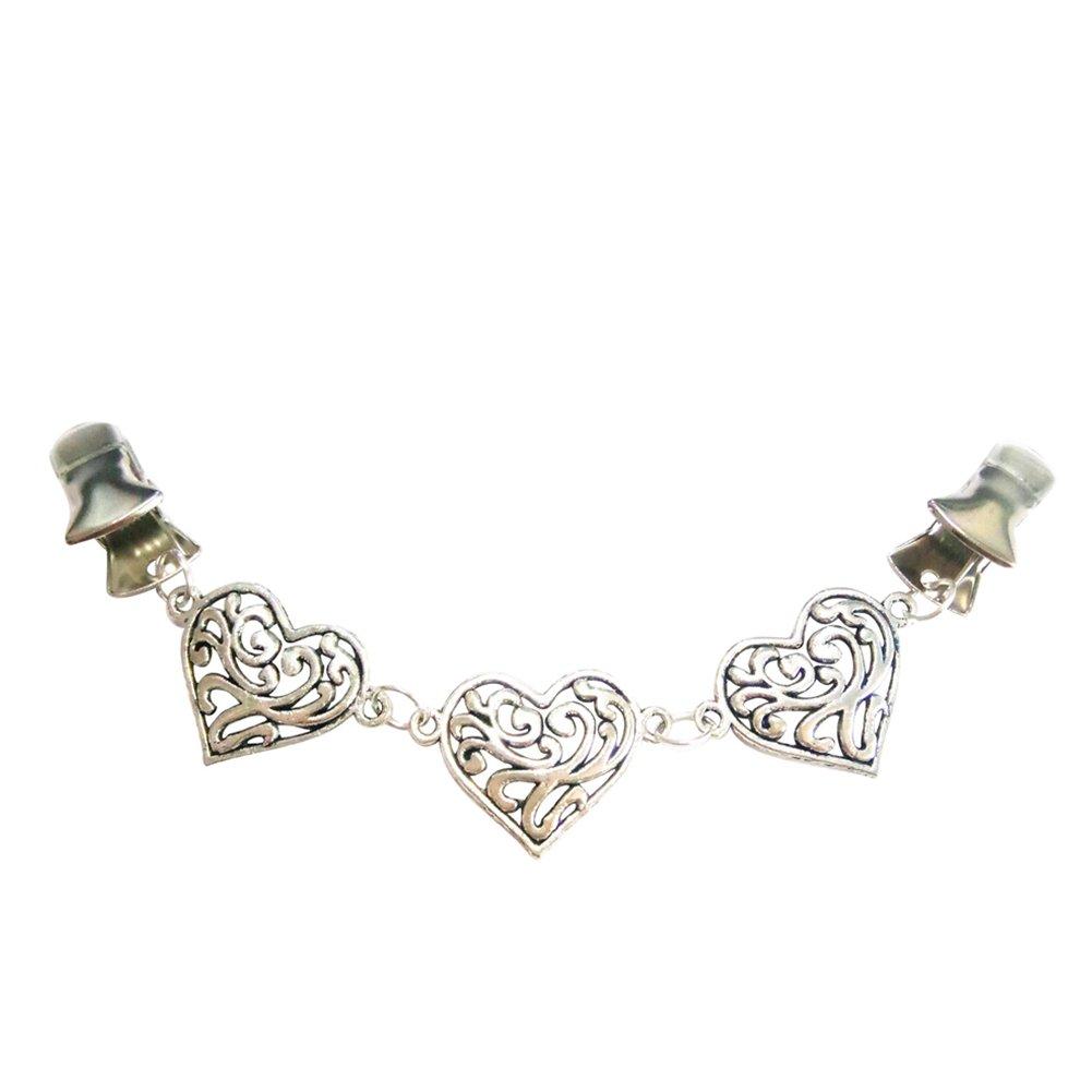 Ever Cute Stylish Heart Chain Cardigan Sweater Clip Guard Versatile Filigree Cinch Shawl Cape Scarf Collar Clip Flexible Clothing Button Jewelry