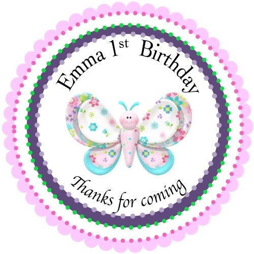 40 Round Labels 2 Personalized Stickers Butterfly Customized Hangtags Party Favors Labels Cupcake Toppers Choice Of Size
