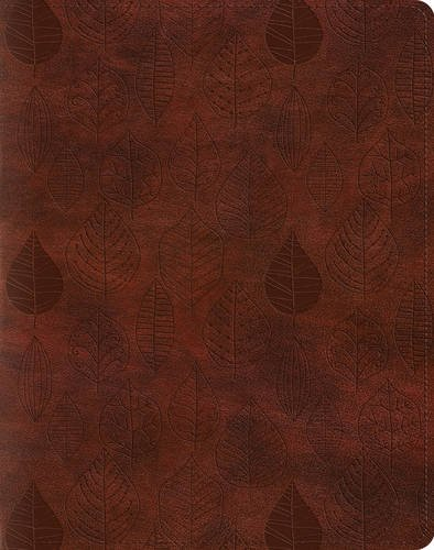 Holy Bible English Standard Version Single Column Journaling Bible, Trutone, Chestnut, Leaves Design