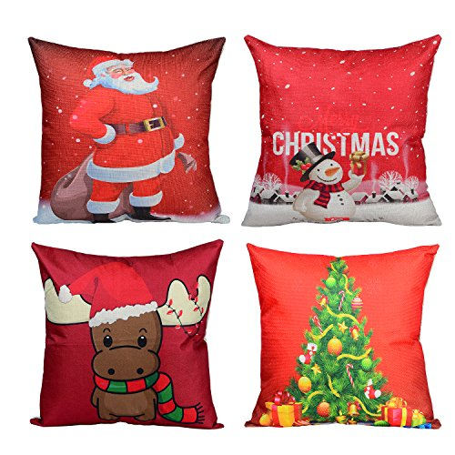 (Wonder4 Merry Christmas Throw Pillow Covers Xmas Decorations Pillow Cases Christmas Tree,Christmas Deer,Santa Claus, Snowman Merry Christmas Pillow Covers Sofa Cushion Cases 18 x 18 Inch Set of 4)